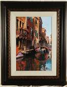 M Roberts Canal with Reflections Hand Signed