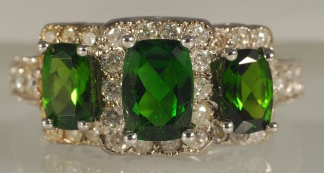 3.47 CT Chrome Diopside & Diamond Ring