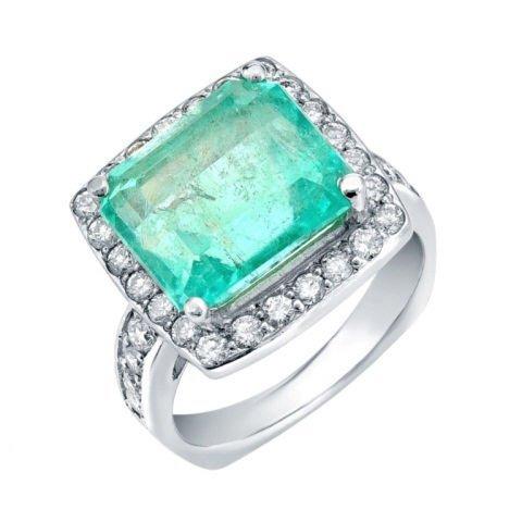 0.89 ct Diamond and 6.95 ct Emerald Ring