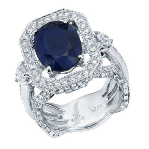 6.97ct Sapphire and Diamond Ring