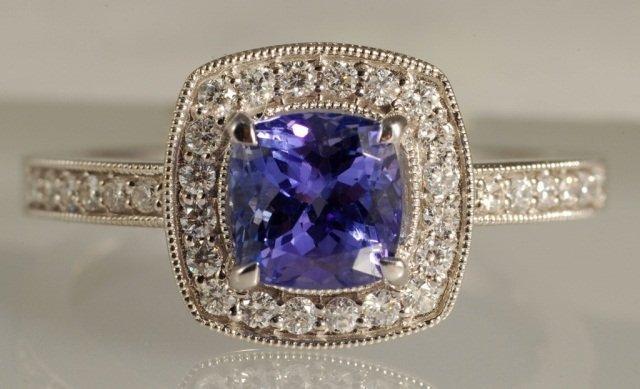 1.57 ct Tanzanite and Diamond Ring 18K White Gold