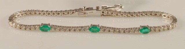 2.02 Carat Emerald and Diamond Bracelet 14K Gold