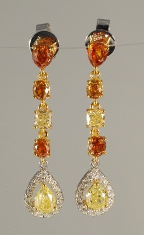 3.99 CT Fancy Natural Color Diamond Earrings 18K