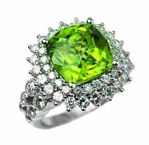 5.98ct Peridot & 1.76ct Diamond Ring 18K