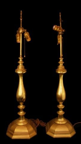 Pair of Tall Solid Brass Vintage Lamp Bases