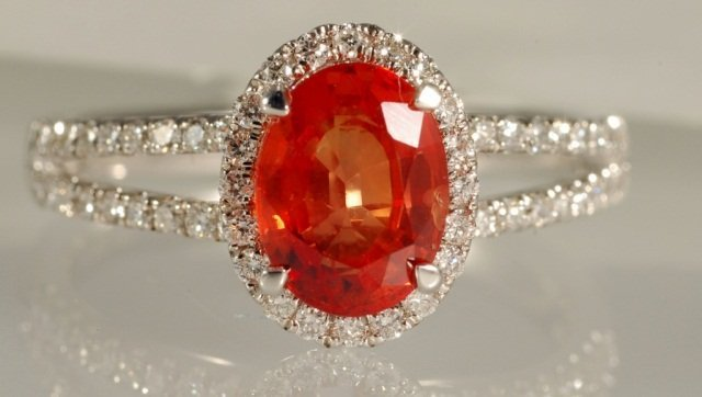 2.33 CT Sapphire and Diamond Ring 18K WG