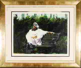 "Aldo Loungo ""A Glass at the Chateau"" Hand Signed"