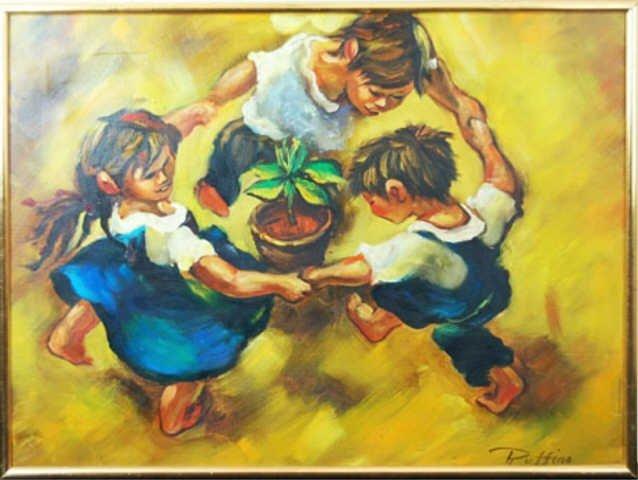"""Ruffino """"Children Playing"""" Oil Painting"""
