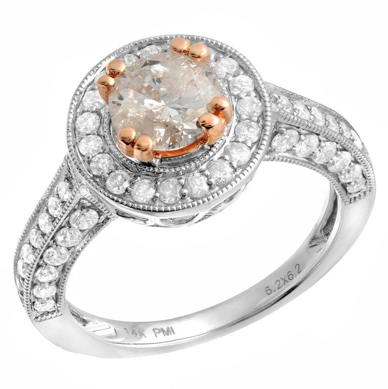 1.8ct Diamond Ring in White & Pink Gold