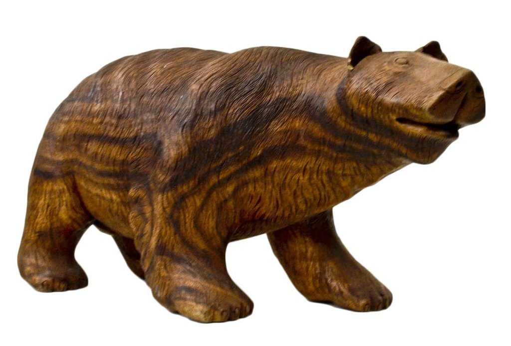"Hand Carved Wooden Bear Sculpture 13"" H"