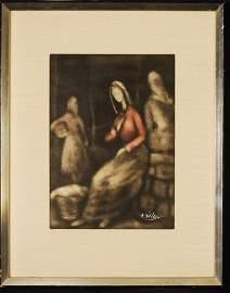 M. Duval, Lithograph, Original Color Pastel, Signe