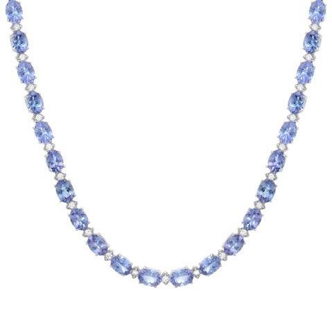 35.96 Carat Tanzanite and Diamond Necklace 14K
