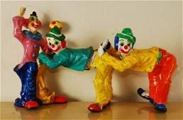 Lot of 3 Vintage Paper Mache Clowns