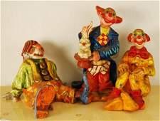Lot of 3 Vintage Paper Mache Clown Sculptures