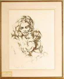 Hyacinthe Kuller, Motherly Love, Hand Signed