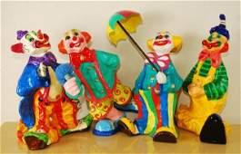 Lot of 4 Vintage Paper Mache Clowns