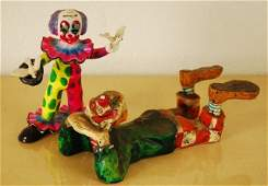 Collection of 2 Vintage Paper Mache Clowns
