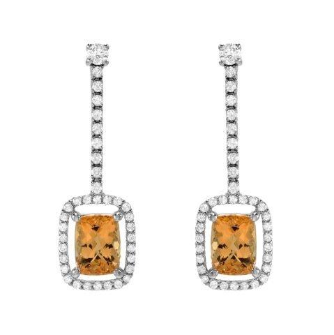 5.40 Carat Topaz and Diamond Earrings in 14K WG