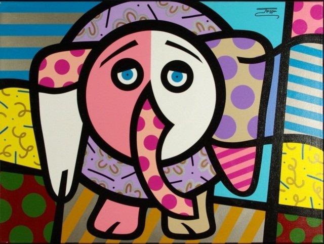 """Jozza """"Elephant"""" Original Oil, Hand Signed"""
