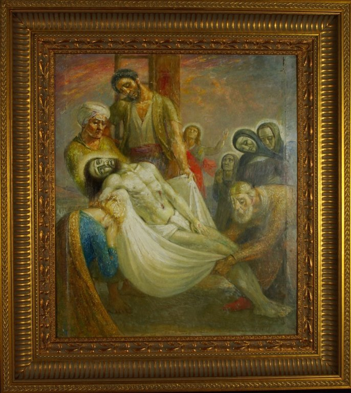 "Emile Delobre ""La Descente de Croix"" Original Oil"