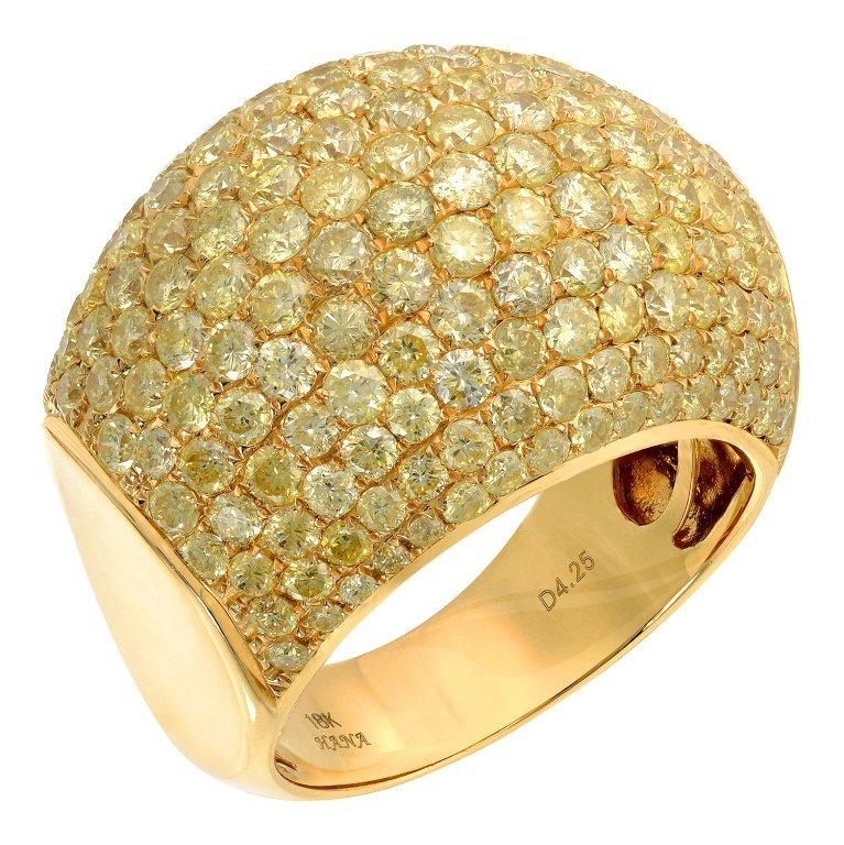 4.25 ct  Fancy Yellow Natural Daimond Ring 18K YG