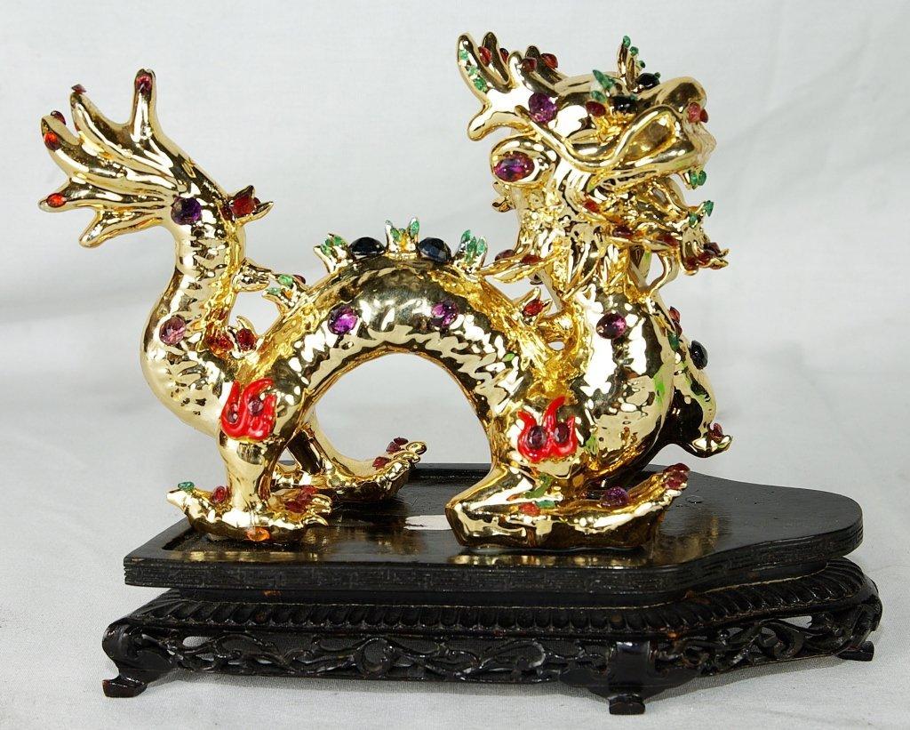 Bejeweled Gold Porcelain Asian Dragon