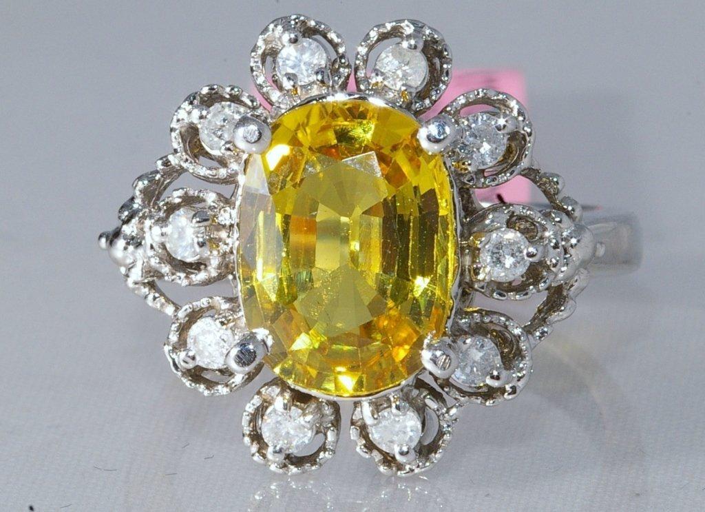 3.72 ct Yellow Sapphire and Diamond Ring