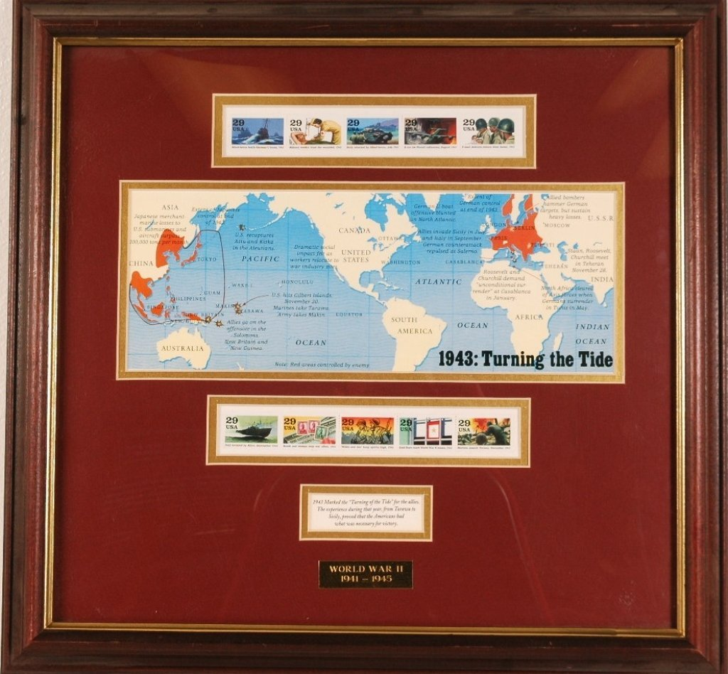 1943 Framed Stamp Collection and WWII Memorabilia