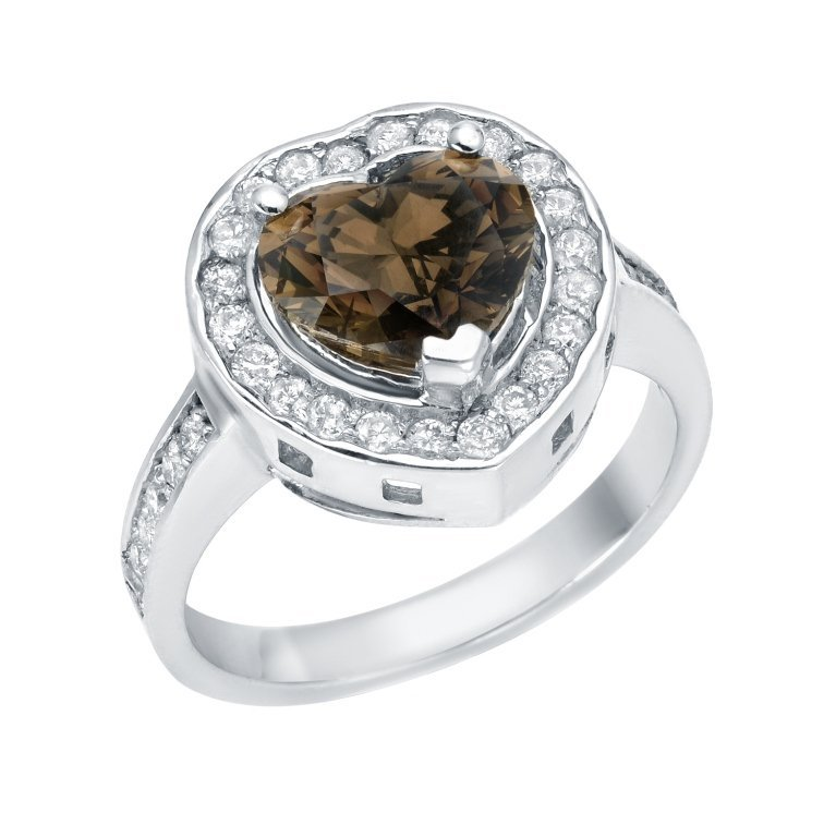 14K 0.50c Diamond & 2.16c Fancy Diamond Heart Ring