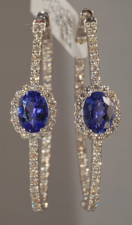 4.35 Carat Tanzanite and Diamond Earrings 14K Gold