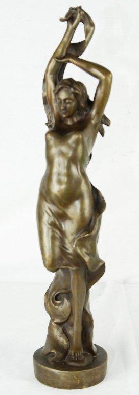 """Art Deco Bronze Sculpture """"Lady"""" 17""""H"""