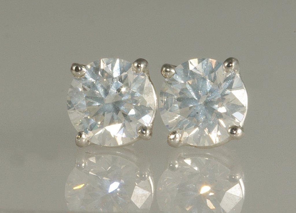 1.42 ct Diamond Stud Earrings set in 14K White Gol