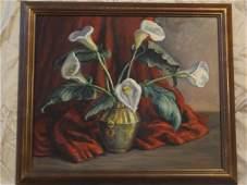 123 Mildred Gehman Oil on Board Still Life