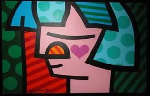 """170: ROMERO BRITTO """"Strawberry Girl"""" 1996 Oil Canvas"""