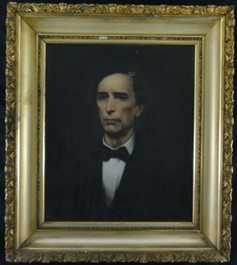 1: American School Oil On Canvas Portrait 19th Century