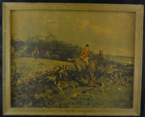 "4: Vintage Print ""Fox Hunting Scene"" Gilbert S. Wright"
