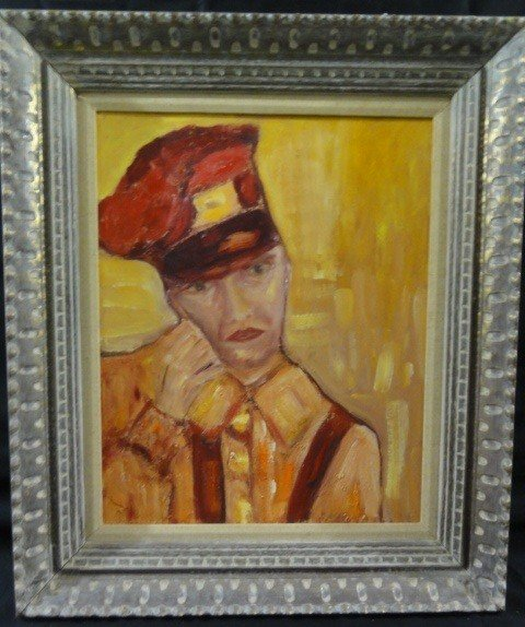 11: Mid 20th Century Oil on Board Portrait