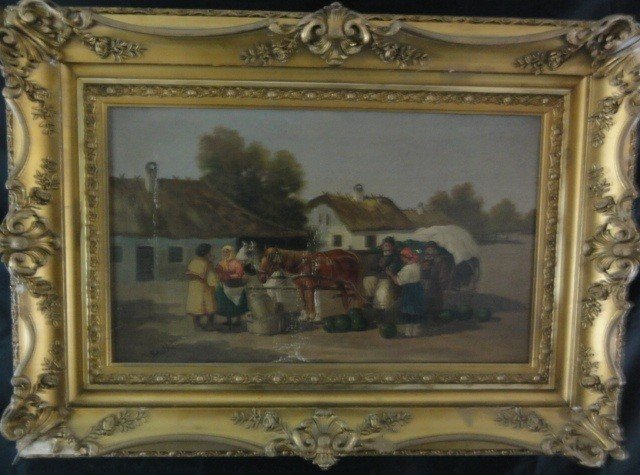 12: Mid 19th Century Oil on Canvas Signed N. Santho