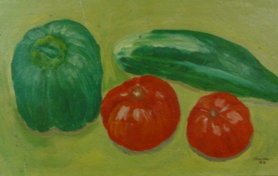 "23: 20th C. Oil on Board ""Vegetables"" Artist Signed"