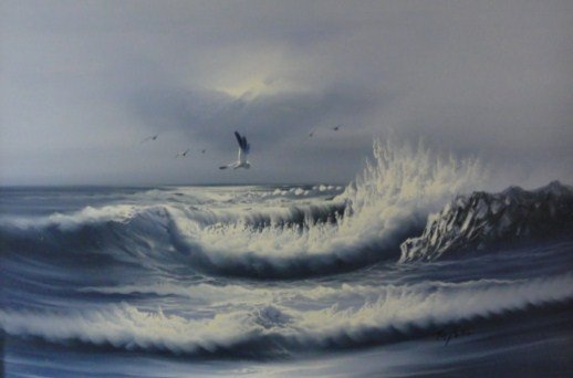 16: 20th C. Oil on Canvas of Seascape