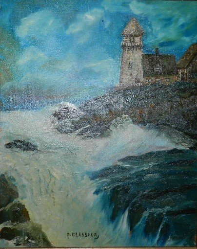"41: George Glessner Acrylic on Board ""Lighthouse"""