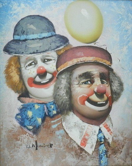 "44: Oil on Canvas ""Clowns"" Signed"
