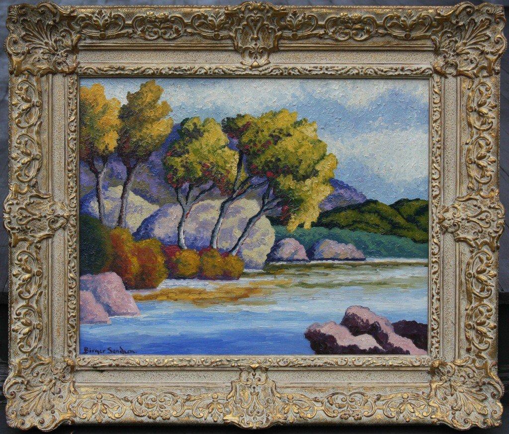 165: BIRGER SANDZEN (1871-1954) OIL ON CANVAS BOARD