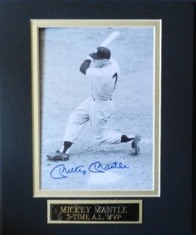Signed Mickey Mantle Yankees Photo