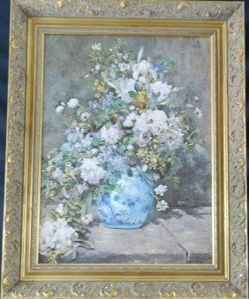 Renoir Flowers Oil On Canvas Repro