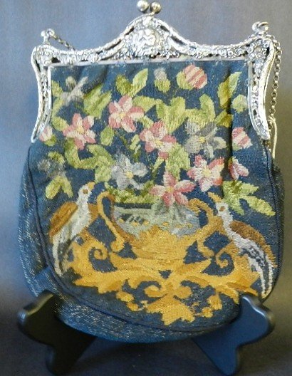 77: Antique Silver Embroidered Purse