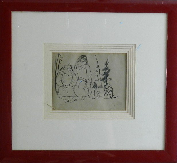 94: Jules Pascin Ink Drawing with Atelier Studio Stamp