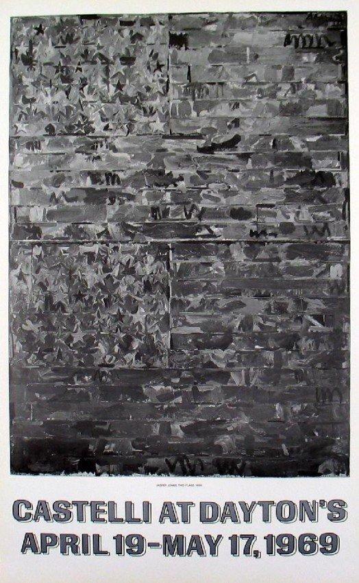 117: Jasper Johns 1969 Two Flags Lithograph