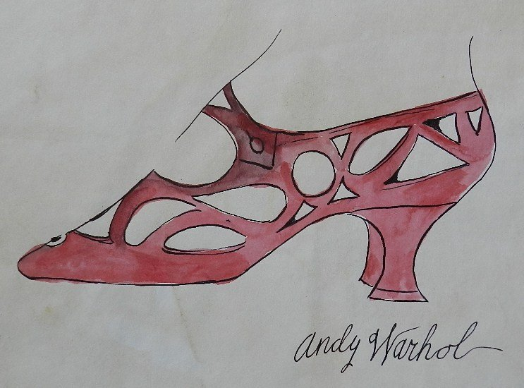81: Watercolor Painting of a  Shoe Signed  Andy Warhol