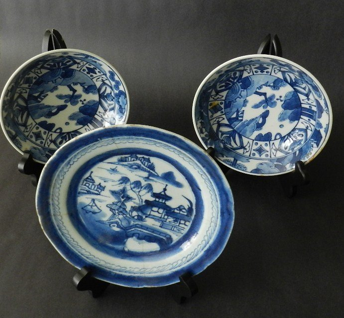 13: Chinese Export Porcelain Canton plate & 2 bowls